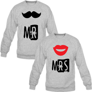 mr mrs Crewneck Sweatshirt Love Couple
