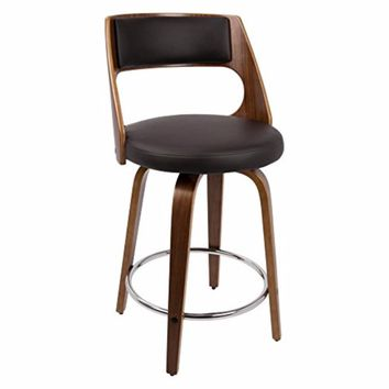 Cecina Fixed Height Mid-Century Modern Counter Stool In WalnutBrown