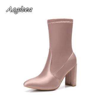2018 Winter Women's Boots Pointed Toe Yarn Elastic Ankle Boots Thick Heel High Heels Shoes Woman Female Socks Boots  f047
