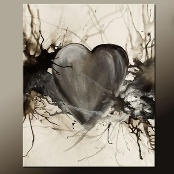 Abstract Canvas Art Contemporary Painting by Destiny Womack - dWo - When The Heart Speaks