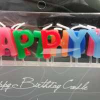 """HAPPY BIRTHDAY Candles in Happy Colors - 1"""" tall and 3/4"""" wide (2.5 cm by 1.8 cm) - Clear 1.5"""" Picks to Stand -"""