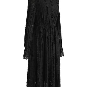 Take A Delicate Way Full Lace Dress in Black