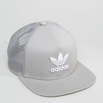 NEW Adidas Originals mens trefoil trucker cap hat grey womens snap back mesh