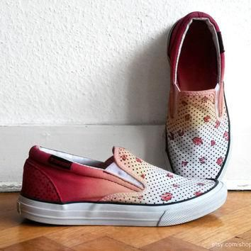 Orange ombre and ladybug print Converse slip-on sneakers, upcycled vintage shoes, whit