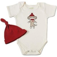 SOCK MONKEY BABYSUIT WITH HAT
