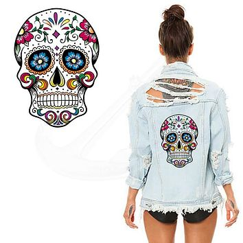 Hot Flower skull 26*19CM patches for clothing A-level Washable Stickers T-shirt Dresses Sweater iron on patches JLDZTH1A