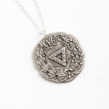 Antique YMCA Sterling Silver Pendant Dated 1906- Vintage Art Nouveau Athletic Award Necklace, Spirit, Mind, Body Jewelry