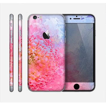 The Pink to Blue Faded Color Floral Skin for the Apple iPhone 6