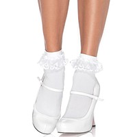 White Anklet Ruffle Sock With Lace