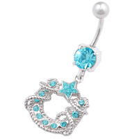 Studded Horseshoe Star Aquamarine Crystal Dangle Belly Button Ring For Girls [Gauge: 14G - 1.6mm / Length: 10mm] 316L Surgical Steel & Crystal