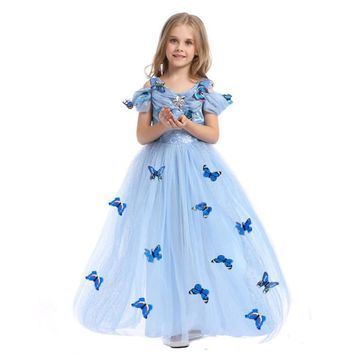 Fantasy Blue Halloween Dress Princess Cosplay Costume Girl Butterfly Dress Long Tulle Kids's Party Gown Dresses For Teen Girls