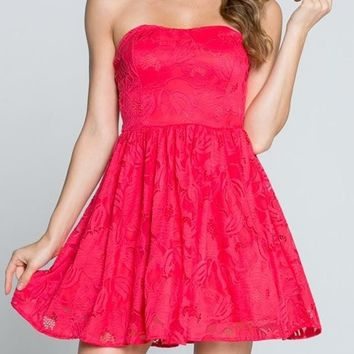 Lovely In Coral Pink Lace Strapless Dress