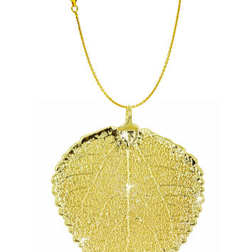 Real Leaf PENDANT with Chain ASPEN Dipped in 24k Yellow Gold Necklace