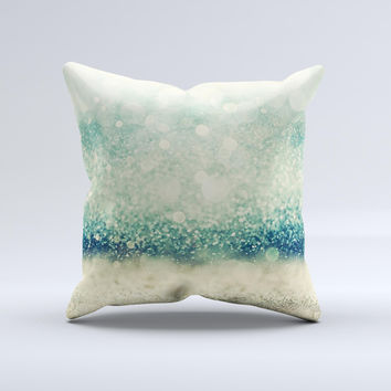 The Teal and Gold Unfocused Orbs of Light ink-Fuzed Decorative Throw Pillow