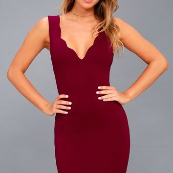 Watch for Curves Wine Red Sleeveless Bodycon Dress