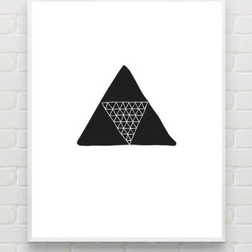 Minimalist Poster, Triangle Art Print, Instant Download Scandinavian Print Abstract Art Geometric Wall Art Monochrome Black and White Print