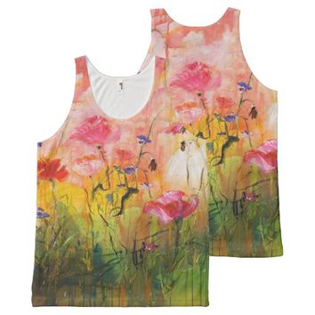 Pink Poppies and Wildflowers Painting Feminine Top All-Over Print Tank Top