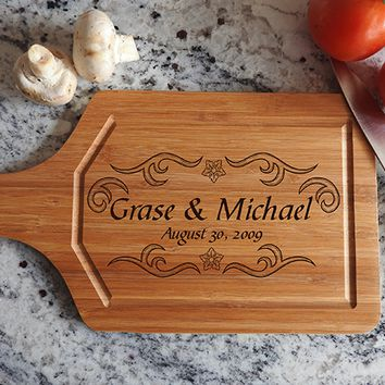 ikb489 Personalized Cutting Board Wood wedding gift anniversary date names wooden wedding