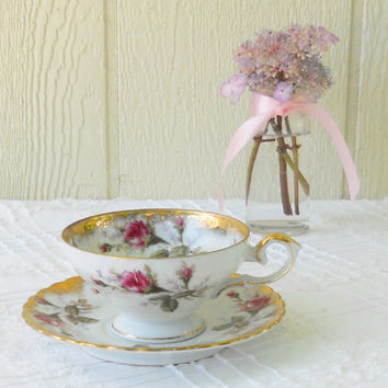 Vintage Royal Sealy Ornate Tea Cup and Saucer Set, Cottage Style Tea Party, Rosebuds, French Country