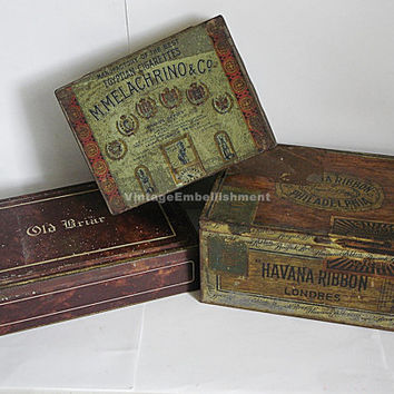 Antique Tobacco Tins Havana Ribbon Cigars Melachrino Cigarettes Old Briar Tobacco