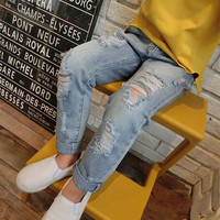 Free Shipping 2016 New Style Girls Jeans Kids Clothes Children Clothing Boys Jeans Elastic Waist Fashion Denim Pants Trousers