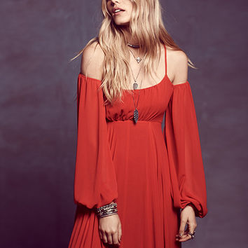 Red Spaghetti Strap Off-Shoulder Chiffon Maxi Dress