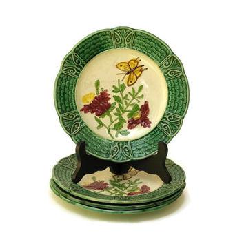 4 Antique Green Majolica Plates with Butterfly and Flowers. Set of Majolica Flower Plates. French Barbotine.