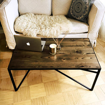 Modern Industrial coffee table /  Industrial coffee table / Industrial furniture / Rustic coffee table / Rustic furniture / Handmade table