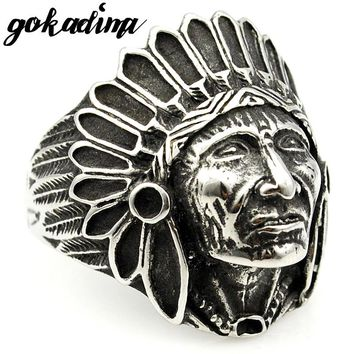 GOKADIMA Fashion Biker Stainless Steel Ring Men Tribe Apache Indian Chief Head Ring Size 7-13 Punk Rocker Figure Jewelry WR307