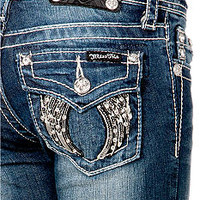 Miss Me Girls Leather Feather Angel Wings Jeans Girls 7-16 - Bel