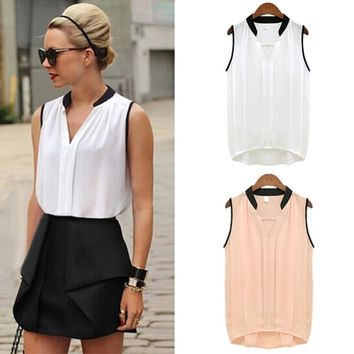 Summer Women Fashion Casual Chiffon Tanks Sleeveless Soft Tanks & Camis Female Tops High Quality V-neck Hot Sales Promotions