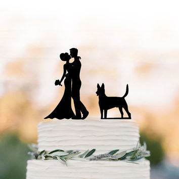 Unique Wedding Cake topper dog, Cake Toppers with custom dog bride and groom silhouette, funny wedding cake toppers customized dog