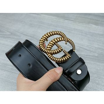 GUCCI Tide brand metal double G wave pattern men and women smooth buckle belt Goldd
