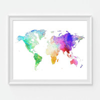 Abstract Watercolor World Map Print, Travel Map Art Print, Map of the World, 8X10 or 11x14 Abstract Art, Home Decor Wall Decor