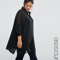 ASOS CURVE Oversized Blouse With Sheer Inserts at asos.com