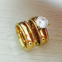 Drbonham Classic Gold Plated Wedding Wedding Bands For Lovers Rs003