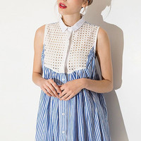 Blue Lapel Mesh Panel Sleeveless Dress