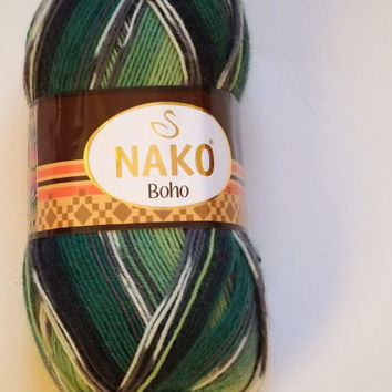Green wool sock yarn, Wool Yarn Destash, Variegated Sock Yarn, green socks yarn, nako socks wool yarn, superwashable wool, Turkish yarn