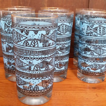 Vintage Blue Black Gold Rimmed Fish Glasses Set of 7 Perfect for Your Retro Beach Bar