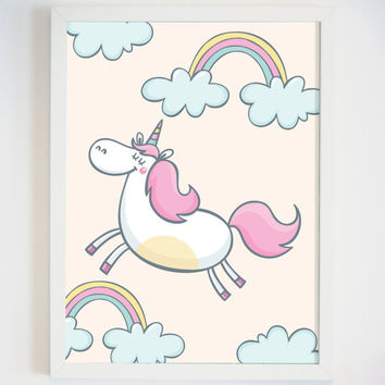 Unicorn Print for Girls Room - Unicorn Decor - Little Girl Bedroom Decor - Unicorn Nursery Wall Art - Fairy Tale Nursery Decor for Baby Girl