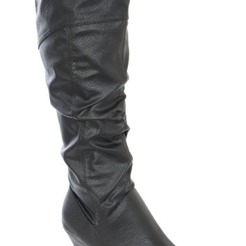 Bexley Ruched Knee High Boots in Black