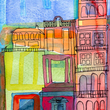 Italian Town Original Watercolour Painting