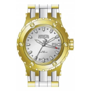 Invicta 12038 Men's Reserve Subaqua Diver Silver Dial Rubber Strap Gold Tone Stainless Steel GMT Dive Watch
