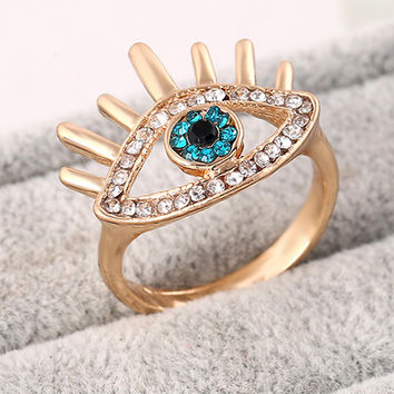 Eye Shape Rhinestone Ring