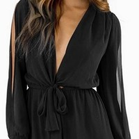 Hot Black Chiffon Bow Tie Waist Romper Long Slit Split Sleeve Elastic Waist