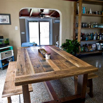 Elegant Solid Oak Reclaimed Barn Wood Dining Room Table