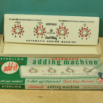 Sterling Automatic Adding Machine • 1950s Calculator • Add It Dial Adding Machine • Vintage Packaging
