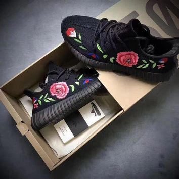 Adidas Yeezy Boost 350 Floral Embroidered Sneakers Sport Shoes