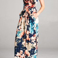 Show Me Off Strapless Watercolor Navy Maxi Dress With Pockets
