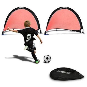 Rukket Pop Up Soccer Goal - Two Portable Soccer Nets with Carry Bag and Anchoring Stakes (2- pack)